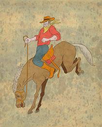 rodeo cowboy riding bucking horse bronco by patrimonio