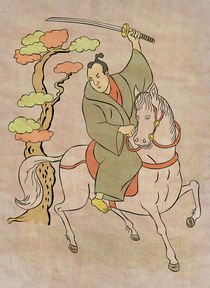 Samurai warrior riding horse attacking by patrimonio