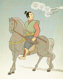 Samurai warrior riding horse attacking von patrimonio