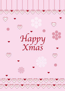Happy Xmas Hearts and Snowflakes by Caroline Allen