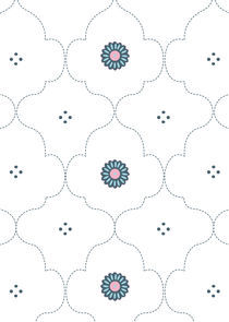 Blue Indian Pattern with floral and polka dot. von Caroline Allen