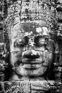 Bayon Face B&W Portrait 1 by Russell Bevan Photography