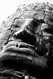 Bayon Smiling Face - Low Angle B&W by Russell Bevan Photography