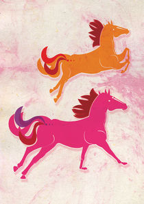 Wild Pink Horses by gabriela castro