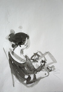 Sketch of a sketching girl by Migle Puzaite