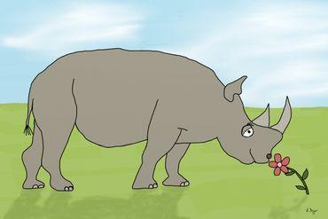 Nashorn-mit-blume