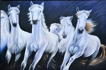 Night with white horses by silvia  ivanova