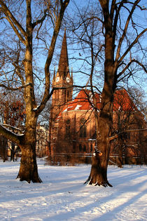 Leipziger Lutherkirche im Winter by Peter  Nimsch