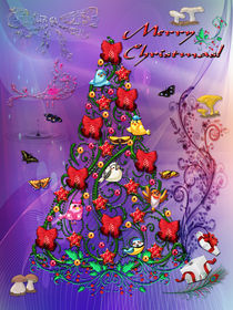 Birds and Butterflies Christmas Tree Art by Blake Robson