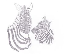 Zebra Mother and Child  by Caitlin Wells