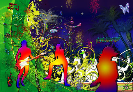 Lime-light-dancing-music-tropical-floral-collage