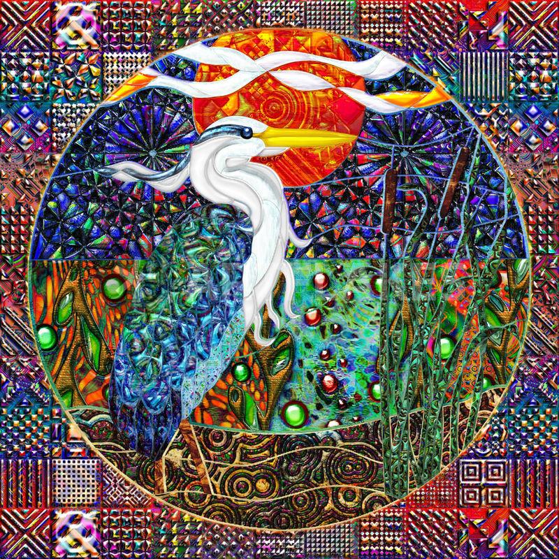 """Heron Tropical Landscape Geometric Collage"" Digital Art"