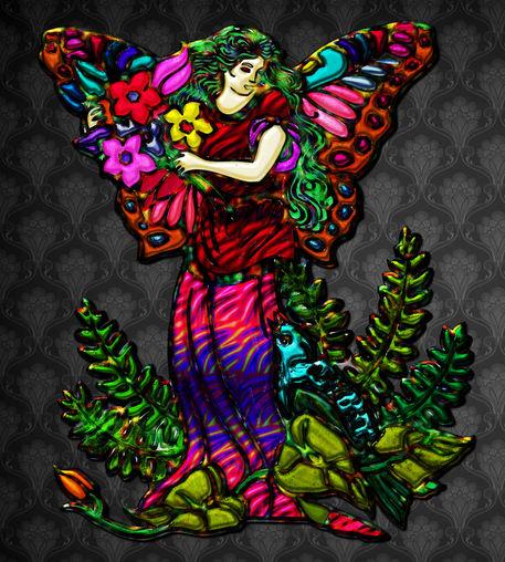 Butterfly-woman-holding-flowers-bird-in-plants