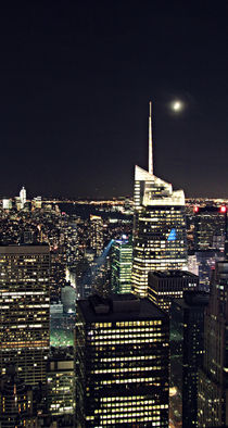 NYC Skyline with moon by Ines Schaefer