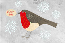 Robin with Snowflakes saying Joyeux Noel von Nic Squirrell