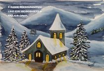 Winteraquarell 8 (mit Text) von Christine Huwer