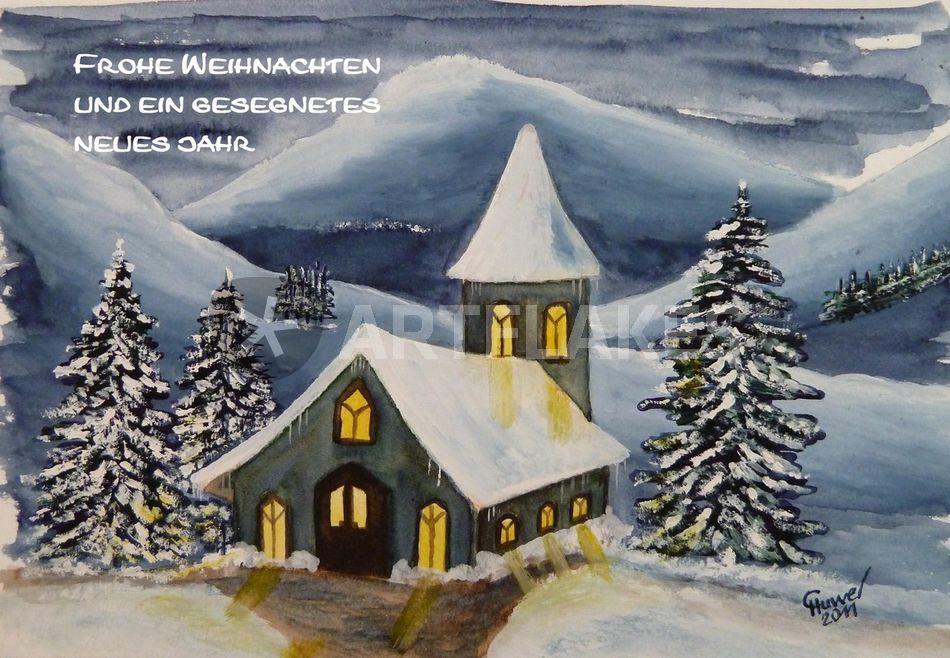 Weihnachtsbilder Mit Text.Winteraquarell 8 Mit Text Malerei Als Poster Und Kunstdruck Von
