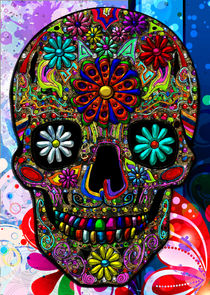 'Painted Skull with Flowers' von Blake Robson