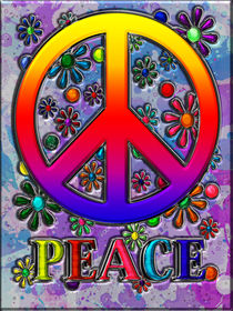 Retro Peace Sign & Flowers by Blake Robson
