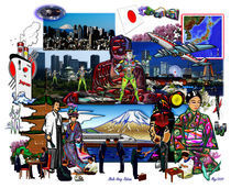 Japan Japanese Archipelago Collage by Blake Robson