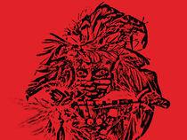 tribal princess on red background von Gayle Lashinco