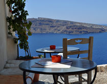 Scenic Cafe Overlooking Caldera by Katerina Vorvi
