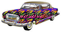 Classic 2 door hard top car Abstract Fire Finish And Hot Word Art by Blake Robson