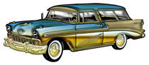 Classic Cadillac 2 Door Hard Top Blue & Gold Designer Finish and Details von Blake Robson
