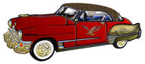 Classic Car with Leather Top Custom Burgundy & Gold with Eagle & Abstract Graphics von Blake Robson