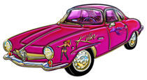 Classic Small Pink Sports Car Killer Cowgirl Designer Graphics von Blake Robson