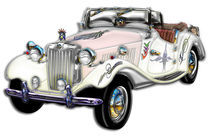 Classic White and Gold MG Convertible von Blake Robson