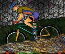Young Man Biking Abstract Background by Blake Robson