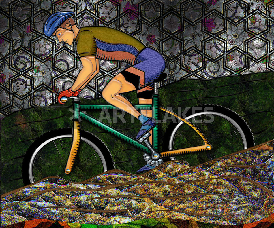 Young Man Biking Abstract Background Digital Art Art Prints And