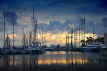 The sunset over the marina in Cannes, France  von Tanja Krstevska