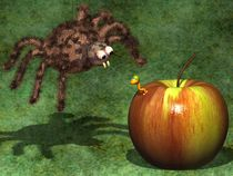 Spider and worm. by Michel Agullo