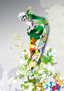 Colorful - Sports, snowboard von roguedesign