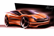 Orange concept car sketching by Nikola Novak