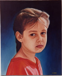 A portrait of young girl by Giora Eshkol