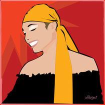 Smiling girl in red by Laura Gargiulo