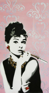 Breakfast at Tiffany's - Stencil over Canvas von Victor Cavalera