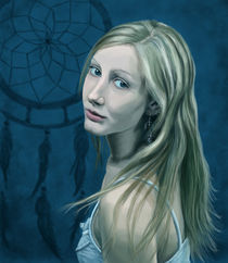 Selbstportrait mit Traumfänger by Dorothee Rund