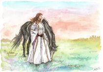 Mädchen mit Pferd, mittelalterlich II von Dorothee Rund