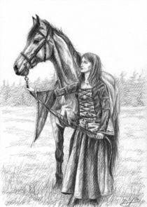 Mädchen mit Pferd, mittelalterlich by Dorothee Rund