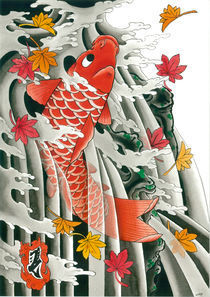 Japanese Koi and momiji(maple leaves) by crez