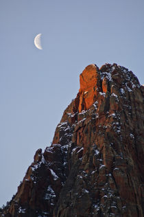 Moon setting on Watchman Mountain by Barbara Magnuson & Larry Kimball