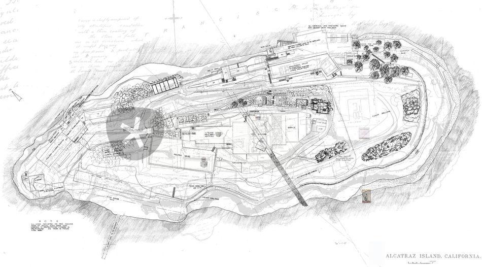 Quot Alcatraz Island Site Plan Quot Drawing Art Prints And Posters
