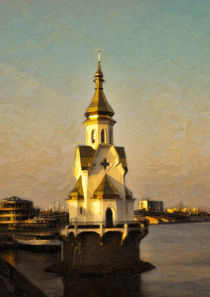 Christian, Christianity, Orthodox church, Dnieper River, Kiev, Ukraine by Graham Prentice
