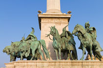 Statues of Hungarian chieftains from Heroes' Square by Evren Kalinbacak