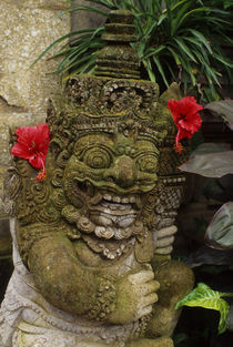 Guardian Figure with Hibiscus Flowers by Wolfgang Kaehler