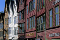 Bryggen District with Historic Wooden Houses From Hanseatic Period von Wolfgang Kaehler